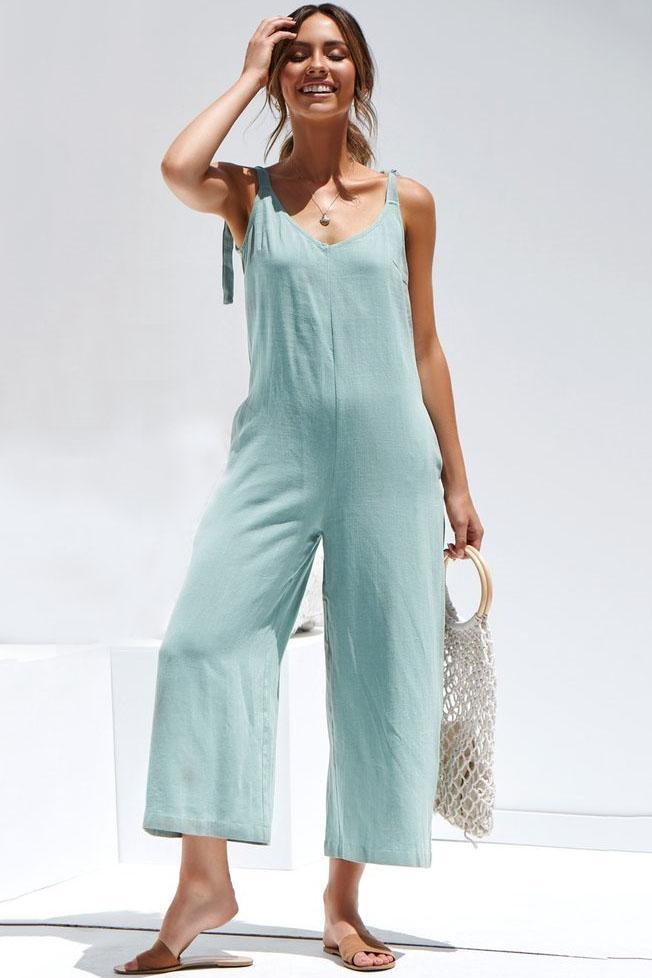 Candy Color Backless Loose-Fit Jumpsuit-S / Blue-looksinn