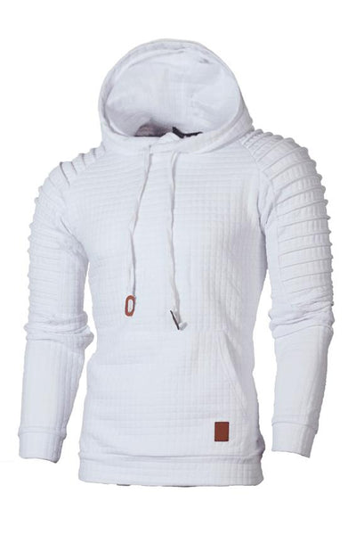 Solid Color Pleated Pullover Pocket Men's Hoodie-S / White-looksinn
