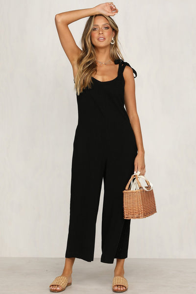 Candy Color Backless Loose-Fit Jumpsuit-S / Black-looksinn