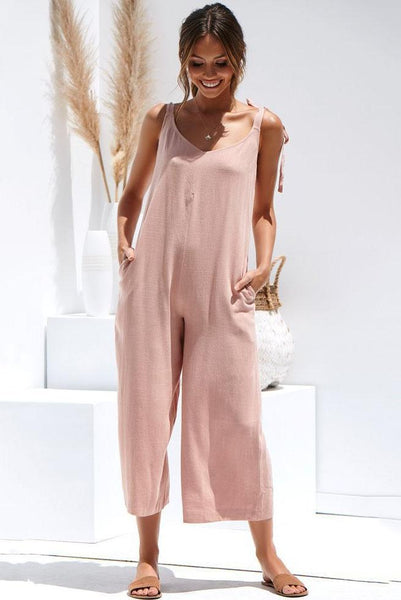 Candy Color Backless Loose-Fit Jumpsuit-S / Pink-looksinn
