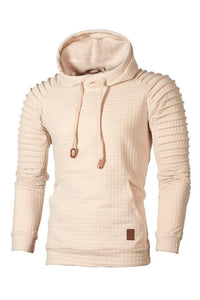 Solid Color Pleated Pullover Pocket Men's Hoodie-S / Apricot-looksinn