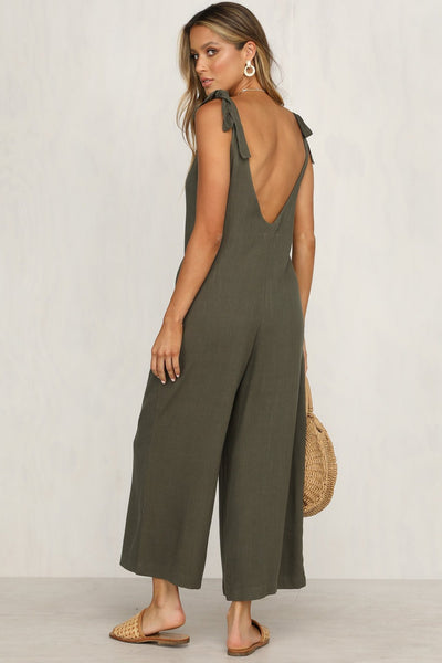 Candy Color Backless Loose-Fit Jumpsuit-S / Army Green-looksinn