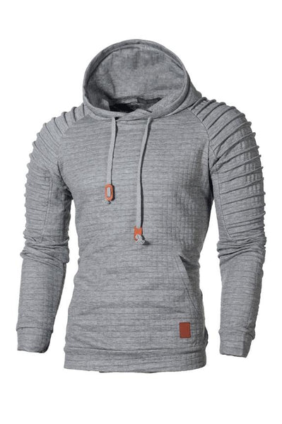 Solid Color Pleated Pullover Pocket Men's Hoodie-S / Light Gray-looksinn