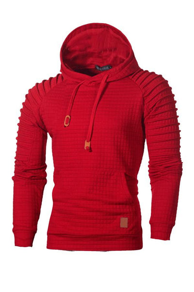 Solid Color Pleated Pullover Pocket Men's Hoodie-S / Red-looksinn