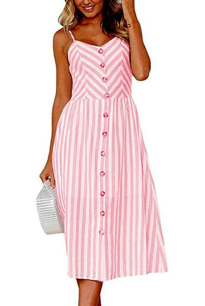 Chic Spaghetti Strap Stripe Day Dress-S / Pink-looksinn