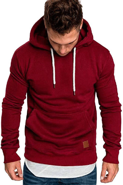Casual Loose-Fit Pocket Men's Hoodie-S / Burgundy-looksinn