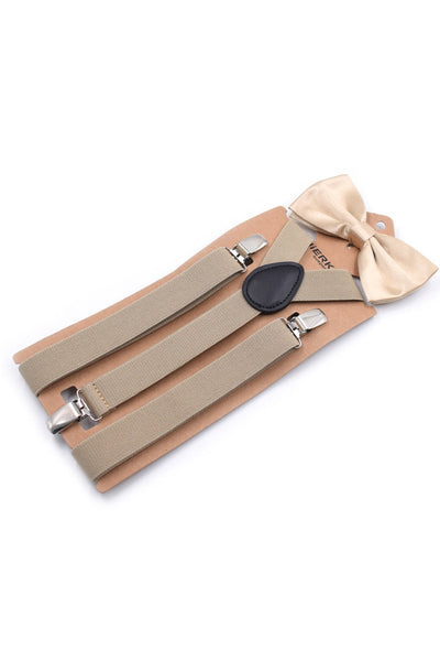Men Solid Color Suspender With Bow Tie-Khaki-looksinn