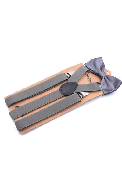 Men Solid Color Suspender With Bow Tie-Gray-looksinn