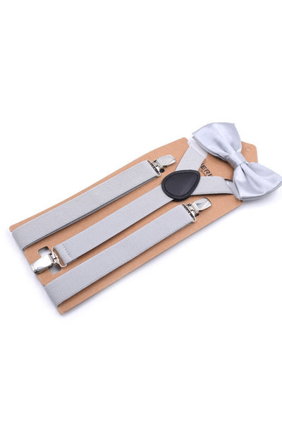Men Solid Color Suspender With Bow Tie-Light Gray-looksinn