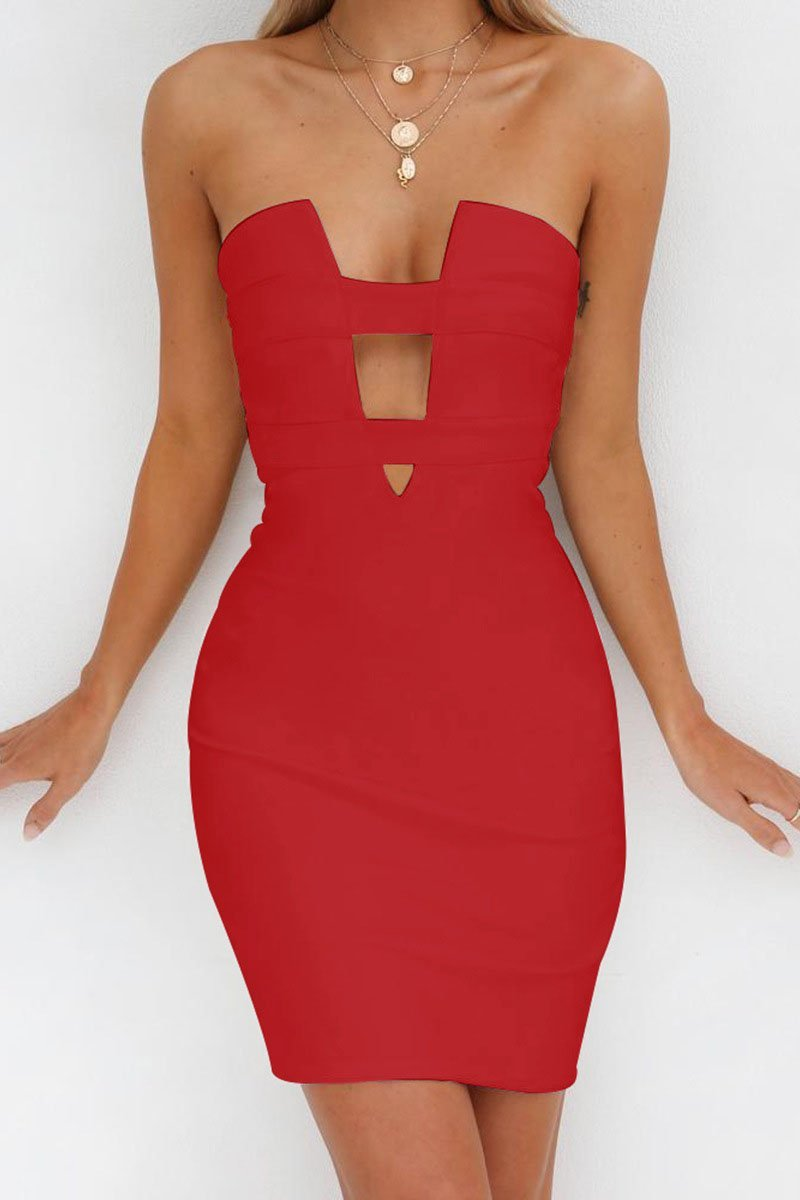 Vogue Strapless Cut-Out Party Dress-S / Red-looksinn
