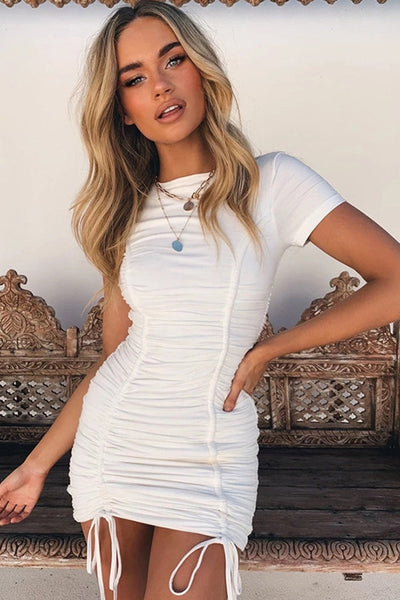 Sexy Round-Neck Pleated Club Dress-S / White-looksinn