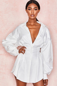 Stylish Plain Skinny Buttoned Day Dress-S / White-looksinn
