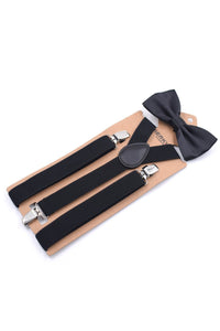Men Solid Color Suspender With Bow Tie-Black-looksinn