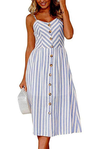 Chic Spaghetti Strap Stripe Day Dress-S / Light Blue-looksinn