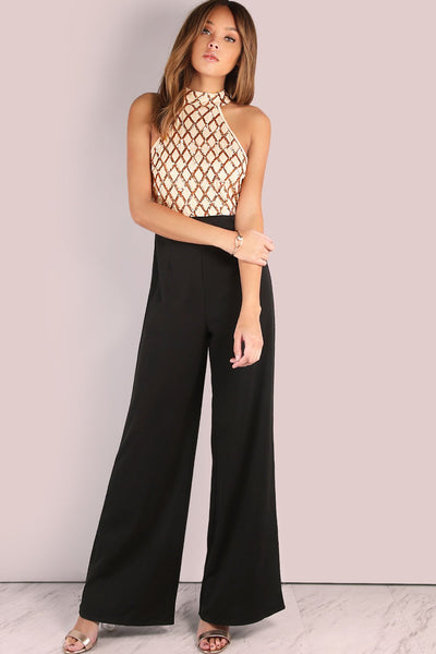 Vogue Round Neck Sleeveless Jumpsuit-S / Golden-looksinn
