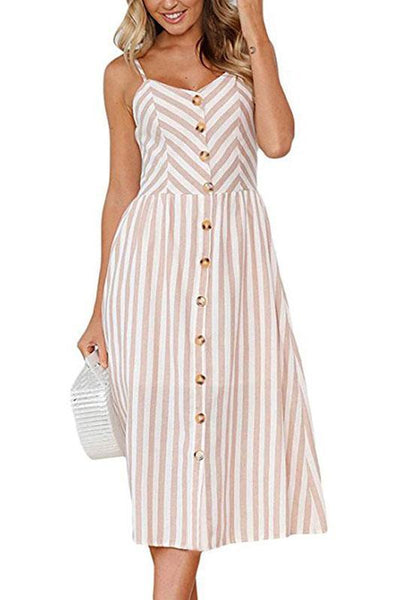 Chic Spaghetti Strap Stripe Day Dress-S / Yellow-looksinn