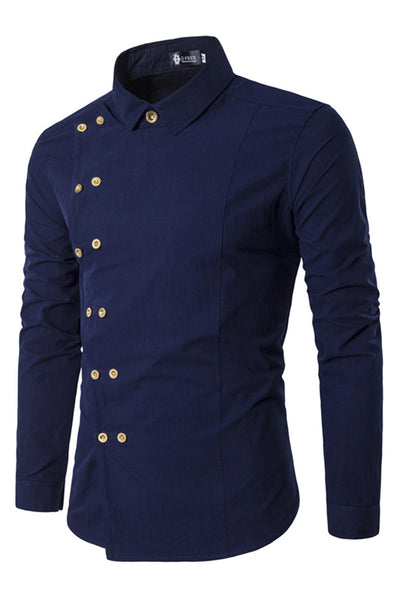 Delicate Double-Breasted Pure Color Men's Shirt-M / Dark Blue-looksinn