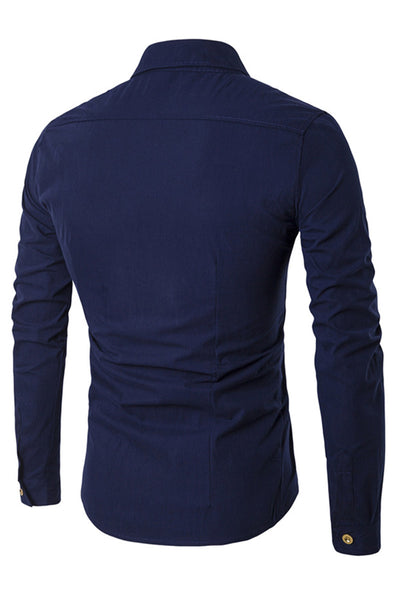 Delicate Double-Breasted Pure Color Men's Shirt-[variant_title]-looksinn