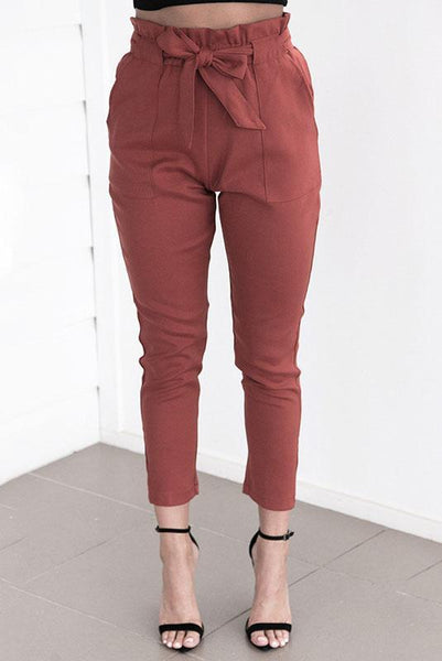 Simple High-Waist Belt-Tie Pencil Pant-S / Burgundy-looksinn