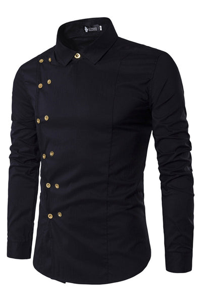 Delicate Double-Breasted Pure Color Men's Shirt-M / Black-looksinn