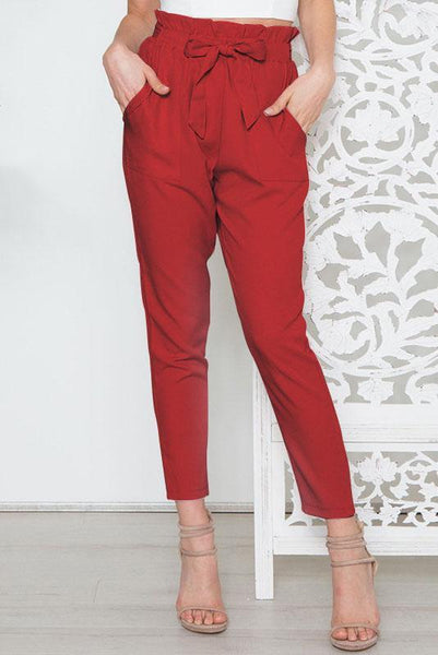 Simple High-Waist Belt-Tie Pencil Pant-S / Red-looksinn