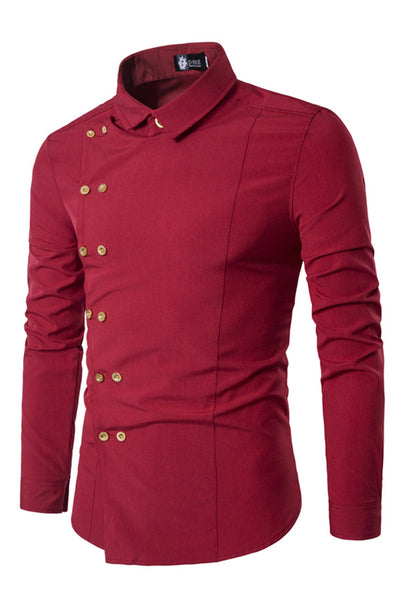 Delicate Double-Breasted Pure Color Men's Shirt-M / Red-looksinn