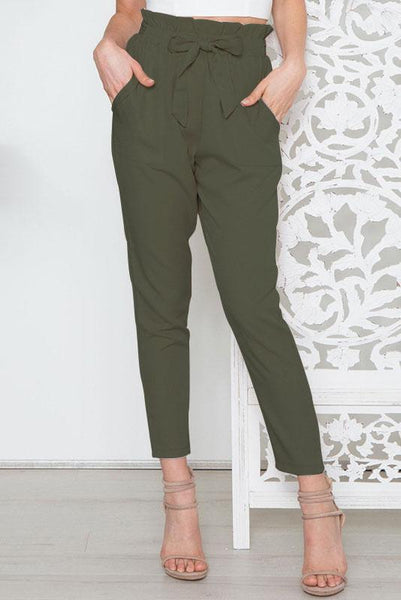 Simple High-Waist Belt-Tie Pencil Pant-S / Army Green-looksinn