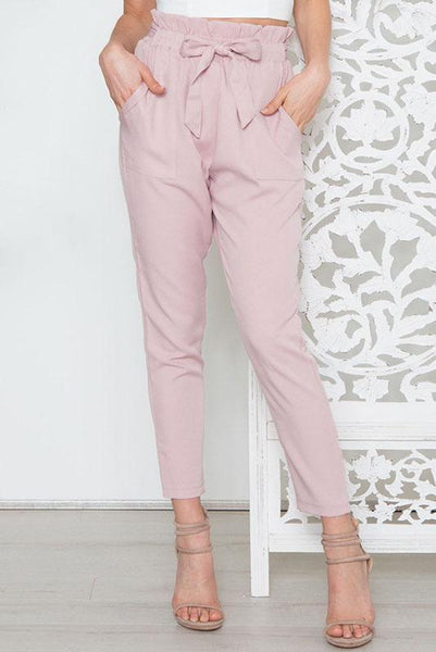 Simple High-Waist Belt-Tie Pencil Pant-S / Pink-looksinn