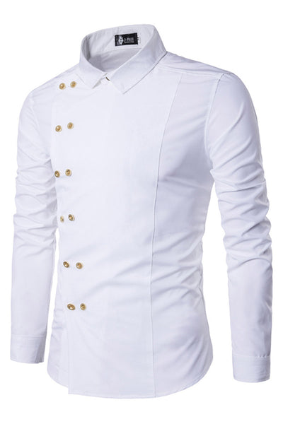 Delicate Double-Breasted Pure Color Men's Shirt-M / White-looksinn