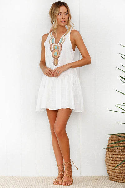 Sexy White V-Neck Printing Day Dress-S / White-looksinn