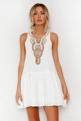 Sexy White V-Neck Printing Day Dress-[variant_title]-looksinn