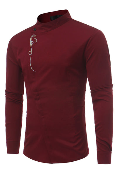 Stylish Embroidery Stand Collar Single-Breasted Men's Shirt-S / Burgundy-looksinn