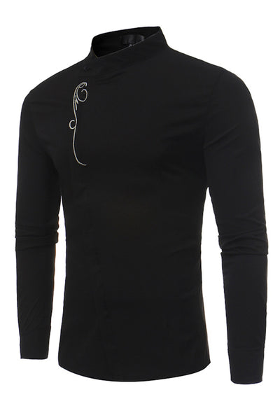 Stylish Embroidery Stand Collar Single-Breasted Men's Shirt-S / Black-looksinn