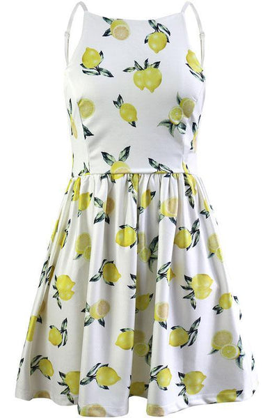 Chic Backless Spaghetti Strap Printing Day Dress-S / Yellow-looksinn