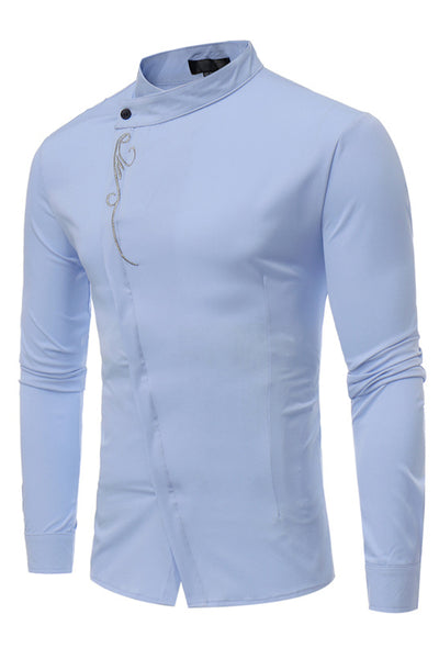 Stylish Embroidery Stand Collar Single-Breasted Men's Shirt-S / Light Blue-looksinn