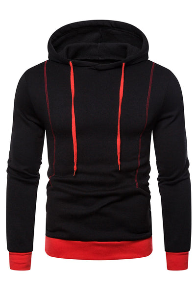 Simple Pure Color Stripe Men's Hoodie-M / Black-looksinn