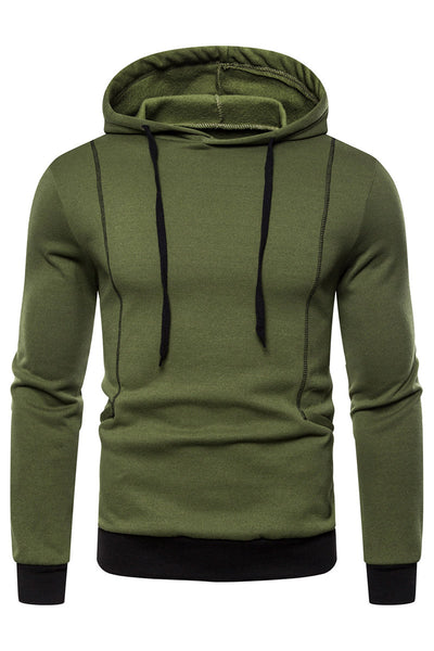 Simple Pure Color Stripe Men's Hoodie-M / Army Green-looksinn