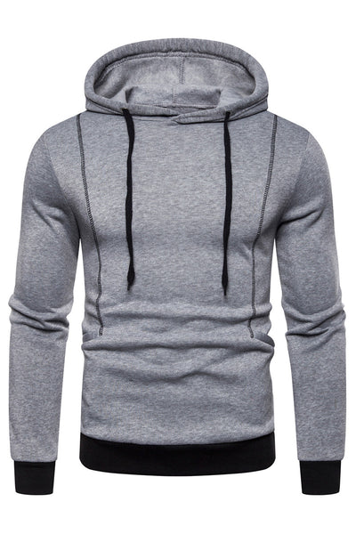 Simple Pure Color Stripe Men's Hoodie-M / Gray-looksinn