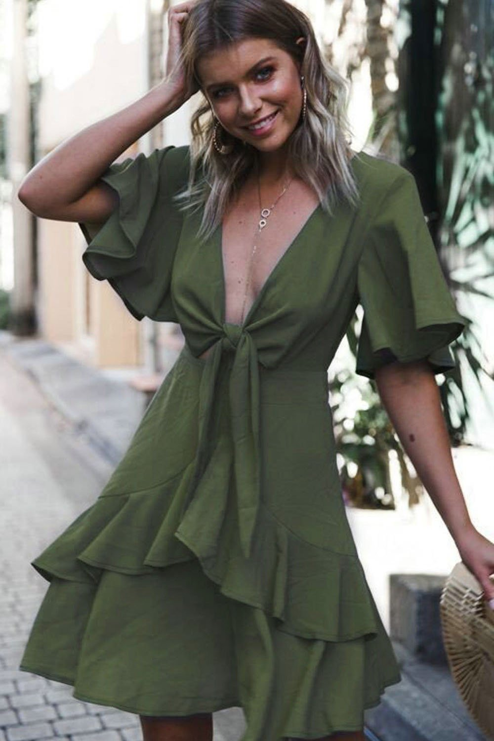 Sexy Tie-Front V-Neck Day Dress-S / Green-looksinn