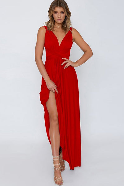 Sexy Plain Side-Slit Party Dress-S / Red-looksinn