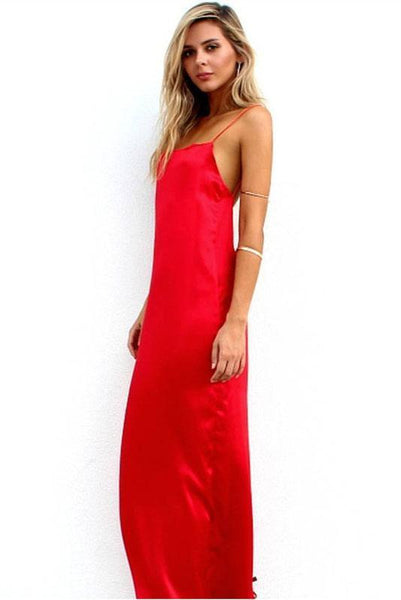 Solid Color Backless Maxi Dress-S / Red-looksinn