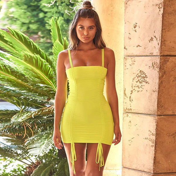 Sexy Pleated Candy Color Bandage Bodycon Dress-S / Yellow-looksinn