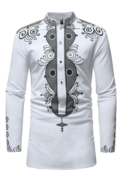 Casual Printing Stand Collar Men's Shirt-M / White-looksinn
