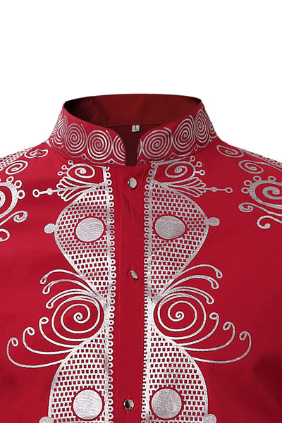 Casual Printing Stand Collar Men's Shirt-[variant_title]-looksinn
