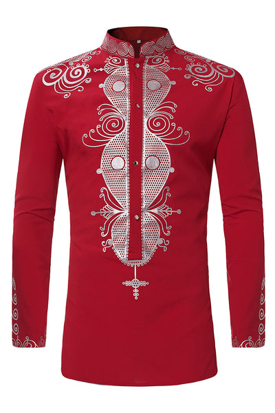 Casual Printing Stand Collar Men's Shirt-M / Red-looksinn