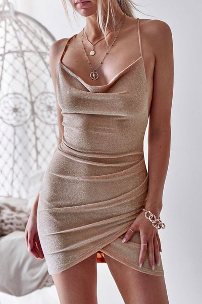 Sexy Backless Pleated Club Dress-S / Khaki-looksinn