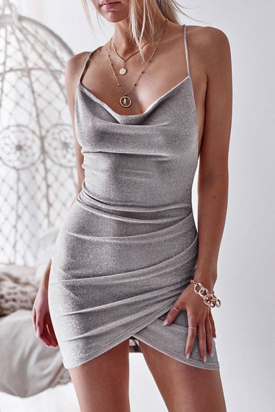 Sexy Backless Pleated Club Dress-S / Gray-looksinn