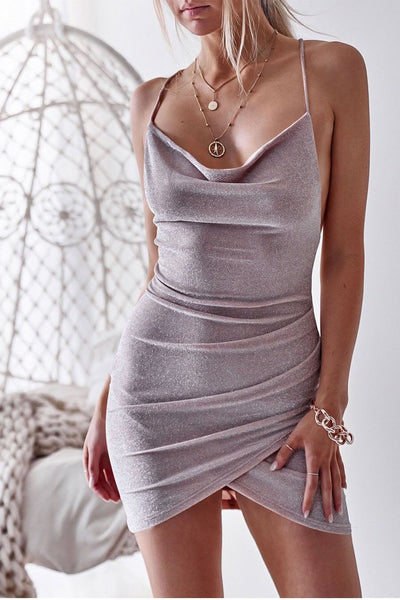 Sexy Backless Pleated Club Dress-S / Purple-looksinn