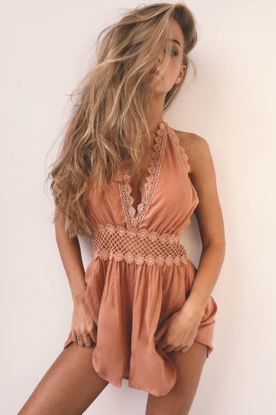 Sexy Lace-Trim Backless Romper-S / Khaki-looksinn