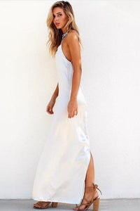 Solid Color Backless Maxi Dress-S / White-looksinn